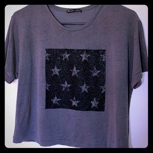 Zara Woman Basics Collection T-Shirt Grey w Stars